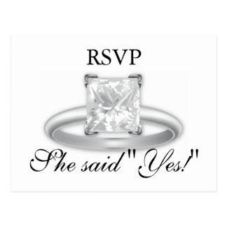 Elle a dit oui ! Cartes de la bague à diamant RSVP