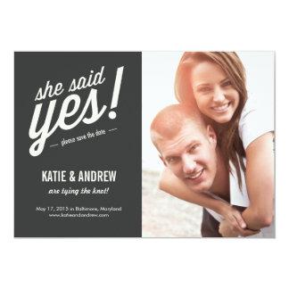 Elle a dit oui ! Réservez la date Carton D'invitation 12,7 Cm X 17,78 Cm