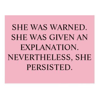Elle a été avertie, carte postale