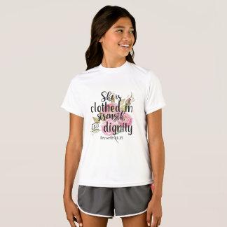 Elle est 31:25 de Prov de W de force vêtue et de T-shirt