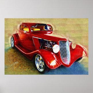 Elle est un classique ! Belle voiture rouge Posters