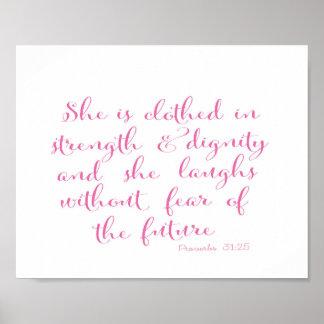 Elle est vêtue de la force - vers de bible - rose poster
