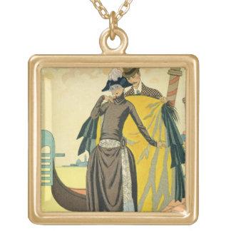 Elle et Lui, 1921 (copie de pochoir) Collier Plaqué Or
