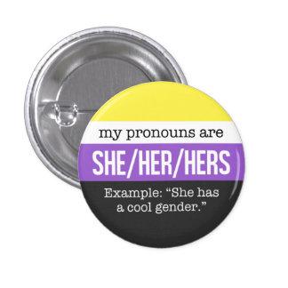 Elle/ses pronoms - drapeau de Nonbinary Pin's