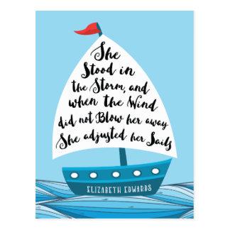 Elle s'est tenue dans la tempête, carte postale