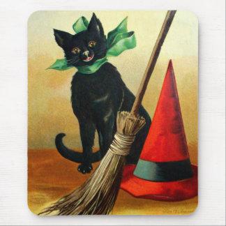 Ellen H. Clapsaddle : Chat noir, balai et chapeau Tapis De Souris