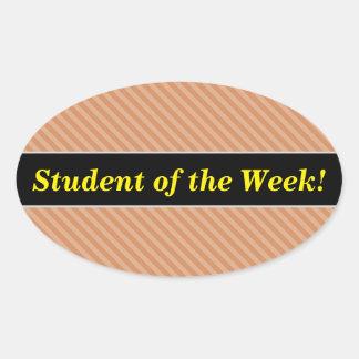 Éloge d'étudiant + Motif brun clair et bronzage de Sticker Ovale