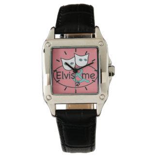 """""""Elvis et moi"""" bracelet en cuir carré rose de noir Montres Bracelet"""