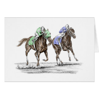 Emballage de chevaux de pur sang carte de vœux