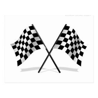 Emballage des drapeaux Checkered Carte Postale