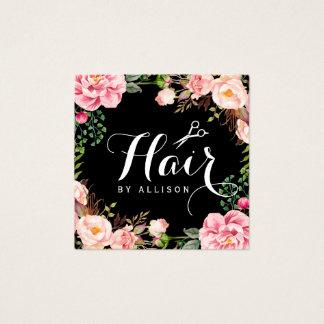 Emballage floral de ciseaux de coiffeur de carte de visite carré