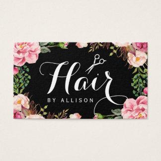 Emballage floral romantique de coiffeur de cartes de visite