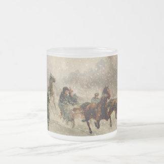 Emballage vintage de Sleigh de neige Mug En Verre Givré