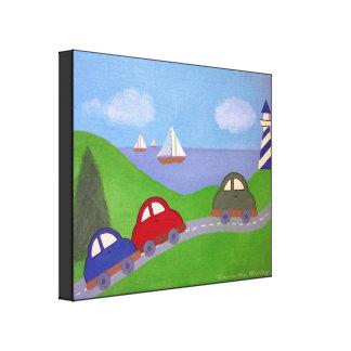 Emballez à la régate - art de mur d'enfants de toiles tendues