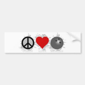 Emblème de bowling d'amour de paix autocollant pour voiture