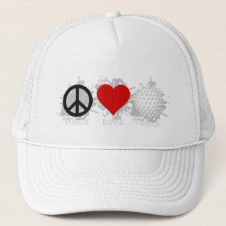 Emblème de golf d'amour de paix casquette