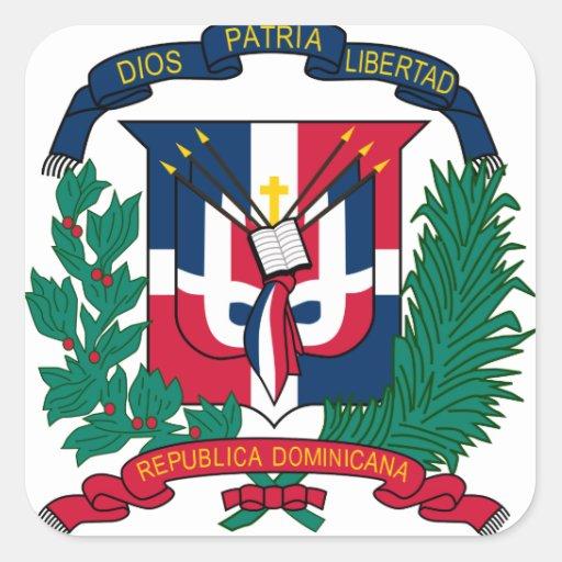 emblème de la République Dominicaine Autocollants Carrés