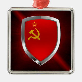 Emblème de Mettalic des syndicats de Sovietic Ornement Carré Argenté