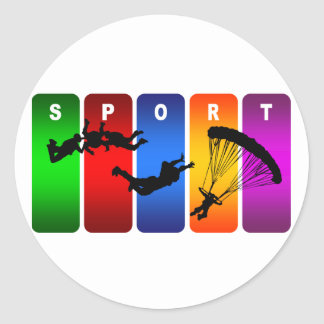 Emblème de parachutage multicolore sticker rond