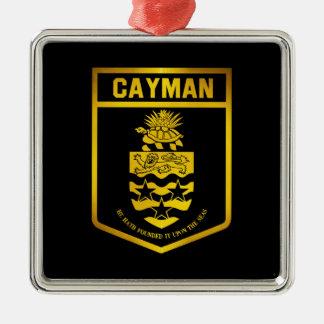 Emblème des Îles Caïman Ornement Carré Argenté