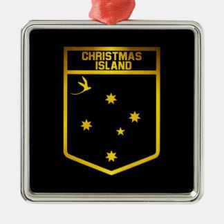 Emblème d'Île Christmas Ornement Carré Argenté