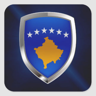 Emblème métallique de Kosovo Sticker Carré