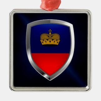 Emblème métallique de la Liechtenstein Ornement Carré Argenté