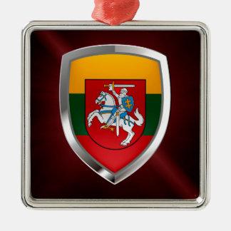 Emblème métallique de la Lithuanie Ornement Carré Argenté