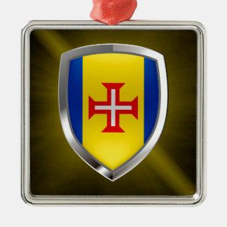 Emblème métallique de la Madère Ornement Carré Argenté
