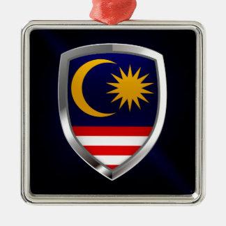 Emblème métallique de la Malaisie Ornement Carré Argenté