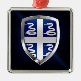 Emblème métallique de la Martinique Ornement Carré Argenté