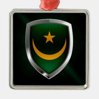 Emblème métallique de la Mauritanie Ornement Carré Argenté