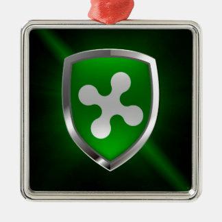 Emblème métallique de Lombardia Ornement Carré Argenté