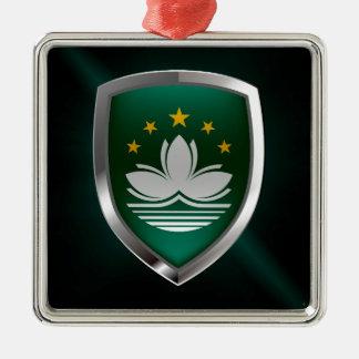 Emblème métallique de Macao Ornement Carré Argenté