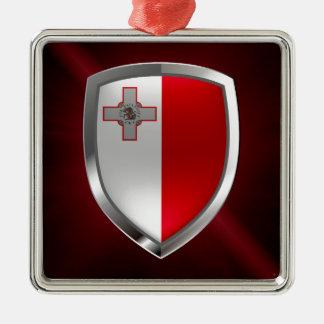 Emblème métallique de Malte Ornement Carré Argenté