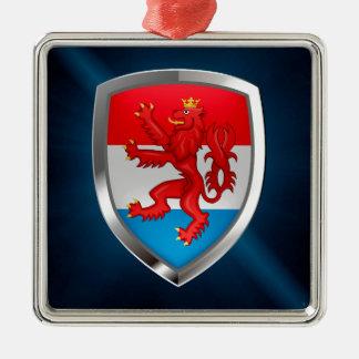 Emblème métallique du luxembourgeois ornement carré argenté