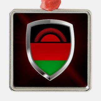 Emblème métallique du Malawi Ornement Carré Argenté