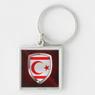 Emblème métallique du nord de la Chypre Porte-clé Carré Argenté