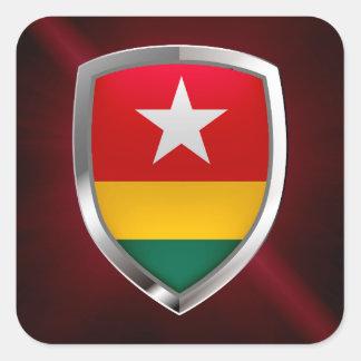 Emblème métallique du Togo Sticker Carré
