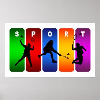 Emblème multicolore de badminton poster