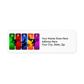 Emblème multicolore de motocross étiquette d'adresse retour