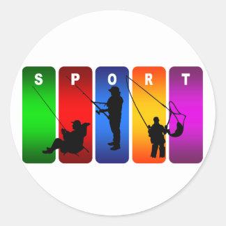 Emblème multicolore de pêche sticker rond