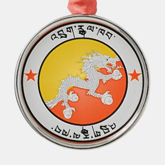 Emblème rond du Bhutan Ornement Rond Argenté