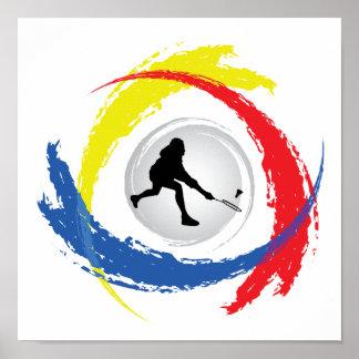 Emblème tricolore de badminton poster