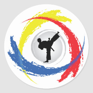 Emblème tricolore de karaté sticker rond