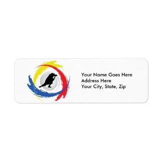 Emblème tricolore de photographie étiquette d'adresse retour