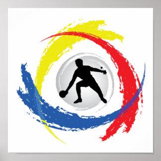 Emblème tricolore de ping-pong poster