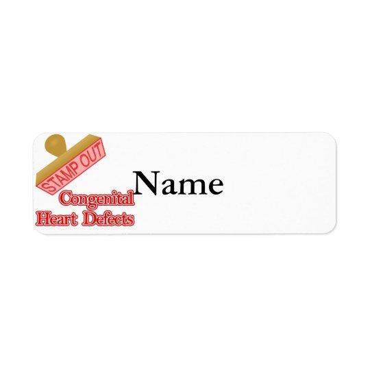 Emboutissez les défauts congénitaux de coeur étiquette d'adresse retour
