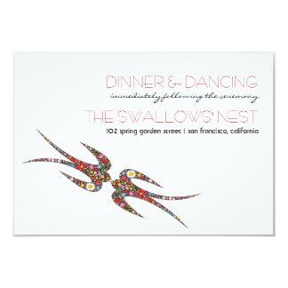 Embrassant le ressort d'hirondelles fleurit la carton d'invitation 8,89 cm x 12,70 cm
