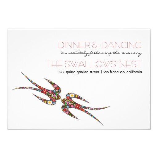 Embrassant le ressort d'hirondelles fleurit la réc bristols personnalisés